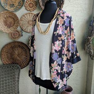 Soprano M navy boho sheer floral kimono wrap EUC